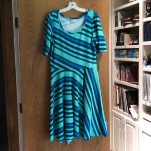 LuLaroe Nicole dress green stripe XL